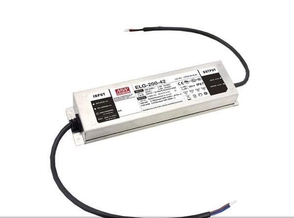 Meanwell Stromversorgung 24VDC 8,4A-200W 0-10V/PWM/Potentiometer MW ELG200-24B-3Y Weiß